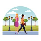 Casual people cartoon. Casual people women at nature park cartoon vector illustration graphic design vector illustration