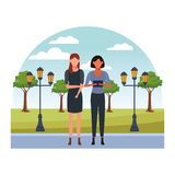 Casual people cartoon. Casual people women with technology device at nature park cartoon vector illustration graphic design stock illustration