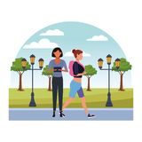 Casual people cartoon. Casual people women with technology device at nature park cartoon vector illustration graphic design vector illustration