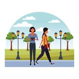Casual people cartoon. Casual people women with technology device at nature park cartoon vector illustration graphic design royalty free illustration