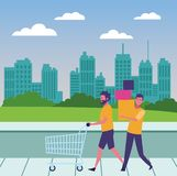 Casual people cartoon. Casual people men shopping concept cartoon walking in the park scenery vector illustration graphic design stock illustration