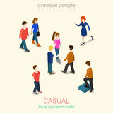 Casual people flat 3d web isometric infographic concept set