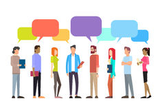 Casual People Group Chat Bubble Communication Social Network. Flat Design Vector Illustration Stock Photo