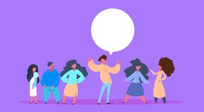 Casual people group chat bubble together man woman character diversity poses male female violet background full length Royalty Free Illustration