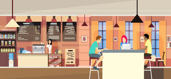 Casual People Group In Modern Cafe Sit Chatting, Students University Campus royalty free illustration