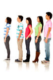 Casual people queuing Stock Images