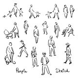 Casual People Sketch. Outline hand drawing vector Illustration Royalty Free Stock Photo
