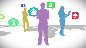 Casual people standing on map with app icons stock footage