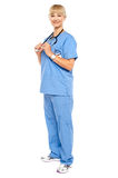 Casual portrait of a confident physician standing sideways Royalty Free Stock Images