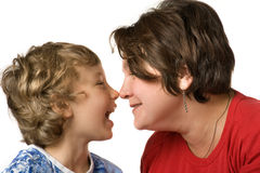 Casual portrait mother and son close up Stock Image