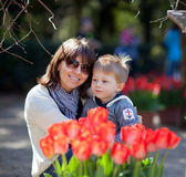 Casual portrait of a mother and son in a park Stock Photo
