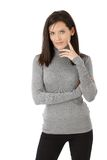 Casual portrait of pretty young woman royalty free stock images