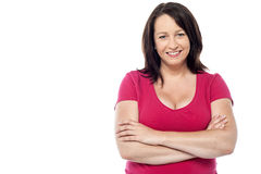Casual portrait of smiling middle aged woman royalty free stock photography