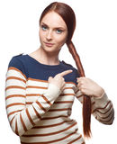Casual red haired young girl Stock Photo