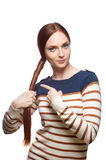 Casual red haired young girl Stock Image