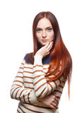 Casual red haired young girl Stock Photos