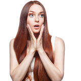 Casual red woman Royalty Free Stock Images