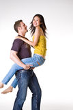 Casual romantic couple. Had their romantic and fun moments Stock Photos