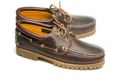 Casual rugged moccasin style men's leather shoes Royalty Free Stock Images
