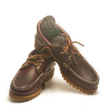 Casual rugged mocassin style men's leather shoes. Casual rugged moccasin style men leather shoes sturdy waterproof with leather laces Stock Photos