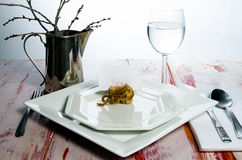 Casual rustic place setting. A casual and rustic place setting with place holder card Royalty Free Stock Photos