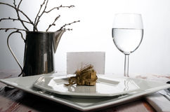 Casual rustic place setting. A casual and rustic place setting with place holder card Stock Photos