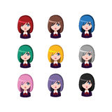 Casual school girl - 9 different hair colors. ( flat colors Royalty Free Stock Photography