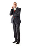 Casual senior business man calling, isolated Royalty Free Stock Photography