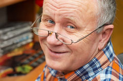 Casual senior man with glasses. Emotional portrait series Royalty Free Stock Photo
