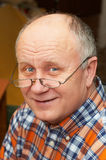 Casual senior man with glasses. Emotional portrait series Stock Photos