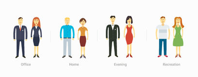 Casual set characters for use in design Stock Photo