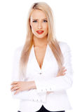 Casual and blond woman on white Royalty Free Stock Photos