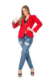 Casual sexy woman in red coat smiling Stock Photo