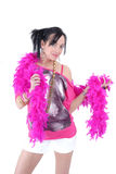 Casual sexy young woman with pink feather boa Royalty Free Stock Images