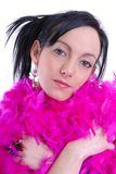 Casual sexy young woman with pink feather boa Stock Photos