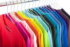 Casual shirts on hangers Stock Photo