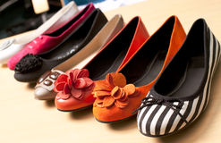 Casual shoes. Different colors of female shoes Royalty Free Stock Image