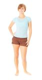 Casual Short Haired Girl in Shorts Royalty Free Stock Images