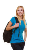 Casual smiling girl student with bag backpack Royalty Free Stock Images