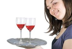 Casual smiling woman holding a wine tray Royalty Free Stock Images