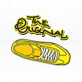 Casual sneaker with lettering the original vector illustration