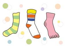 Casual socks set with five fingers socks vector illustration