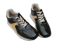 Casual sports shoes. Brown shoes stock images