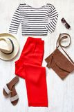 Casual spring/summer female clothing set. Royalty Free Stock Photography