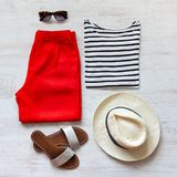Casual spring/summer female clothing set. Royalty Free Stock Images