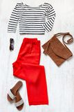 Casual spring/summer female clothing set. Royalty Free Stock Photos