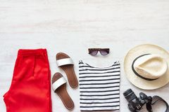 Casual spring/summer female clothing set. Vacation clothes and accessories concept. Royalty Free Stock Images