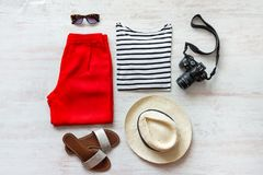 Casual spring/summer female clothing set. Vacation clothes and accessories concept. Royalty Free Stock Photo