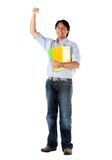 Casual student with arm up Royalty Free Stock Images