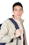 Casual student in brown clothes Stock Images
